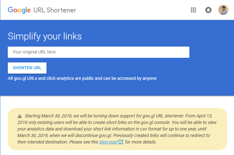 Google URL Shortener goo.gl shutting down